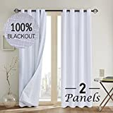 #5: Primitive Linen Look,100% blackout curtain(with Liner)White blackout curtains& Blackout Thermal Insulated Liner,Grommet Curtains for Living Room/Bedroom,burlap curtains-Set of 2 Panels(52x84 White)p2