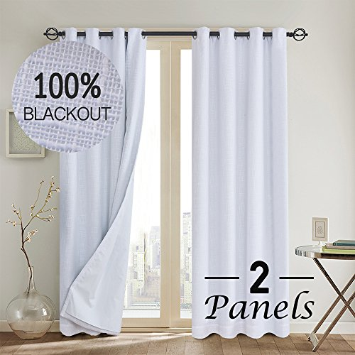 ,100% blackout curtain(with Liner)White blackout curtains& Blackout Thermal Insulated Liner,Grommet Curtains for Living Room/Bedroom,burlap curtains-Set of 2 Panels(50x84 White)p2 ()