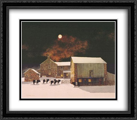 A Pale Moon 2x Matted 28x24 Large Black Ornate Framed Art Print by Peter Sculthorpe by ArtDirect