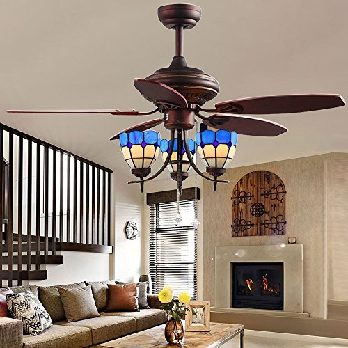 Tropicalfan 48 inch Ceiling Fan with Remote Control 3 Multi-faces Tiffany Glass Light Cover For Indoor Living Room 5 Wood Reversible Blade Fans