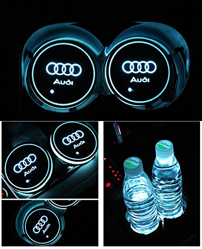Car Logo LED Cup Pad led cup coaster USB Charging Mat Luminescent Cup Pad LED Mat Interior Atmosphere Lamp Decoration Light (Audi)