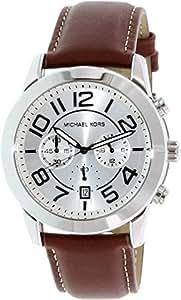 Michael Kors Mercer Chronograph White Dial Leather Strap Mens Watch MK8323