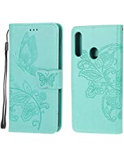Jorisa Wallet Case Compatible with Samsung Galaxy A20S,Embossed Butterfly Flower PU Leather Flip Magnetic Purse Phone Cover with Card Holder Wrist Strap Stand Protective Cover,Green