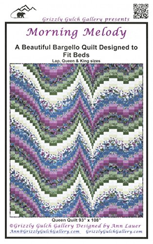 Morning Melody Quilt Pattern, Simple Strip Piecing, Beautiful Bargello Quilt, 3 Finished Size Options (Melody Pattern)
