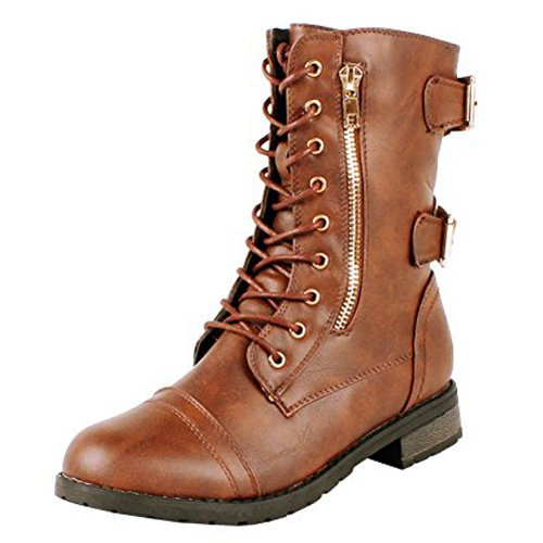 Guilty Shoes - Womens Combat Military Lace Up Buckle Platform Mid Calf Boots - stylishcombatboots.com