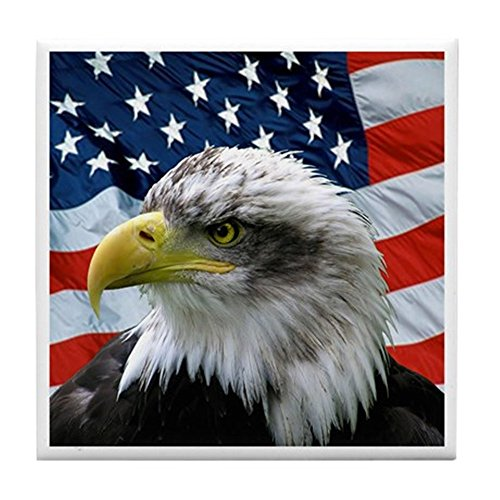 CafePress - Bald Eagle American Flag - Tile Coaster, Drink Coaster, Small Trivet