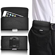 ONX3® ( Black - Large ) Samsung Galaxy S5 Neo PU Leather Horizontal Belt Clip Holster Magnetic Button Flip Pouch Phone Holder Skin Case Cover
