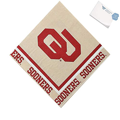 Bargain World NCAA Oklahoma Sooners Luncheon Napkins (With Sticky Notes)