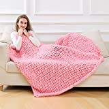 Hand Chunky Knitted Blanket Thick Wool Bulky Knitting Throw Couch Bed Soft Blanket Sofa Blanket (120150cm/47.359.1'', Pink)
