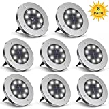 ZGWJ Solar Ground Lights,8 LED Disk Lights Upgraded Outdoor Garden Lights Landscape Lights for Lawn Pathway Yard Deck Patio Walkway,8 Pack White