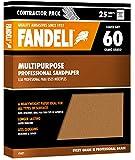 Fandeli 36021 060 Grit Multipurpose Sandpaper Sheets, 9''  x 11'', 25-Sheet