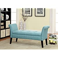 Furniture of America Gracelle Upholstered Accent Bench with Storage, Blue