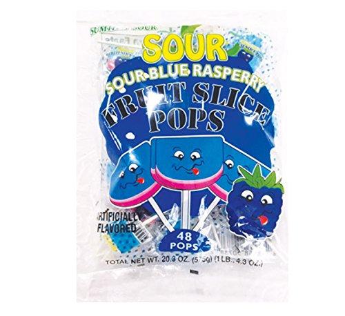 Sumthin' Sour Blue Raspberry Fruit Slices Sour Pops - 48 Count