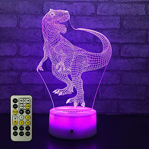 FlyonSea Dinosaur Night Light Dinosaur Lamp Bedside Lamp 7 Colors Change Remote Control with Timer Kids Night Light Optical Illusion Lamps for Kids Lamp As a Gift Ideas for Boys