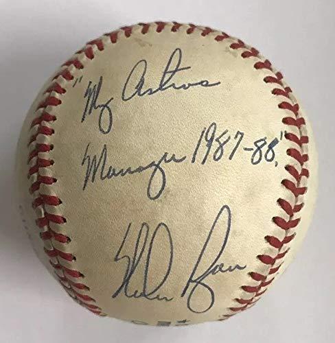 "NOLAN RYAN & HAL LANIER DUAL AUTO AUTOGRAPH SIGNED ONL BASEBALL HOUSTON ASTROS""MY ASTROS MANAGER 1987 88"" COA JSA HOF"