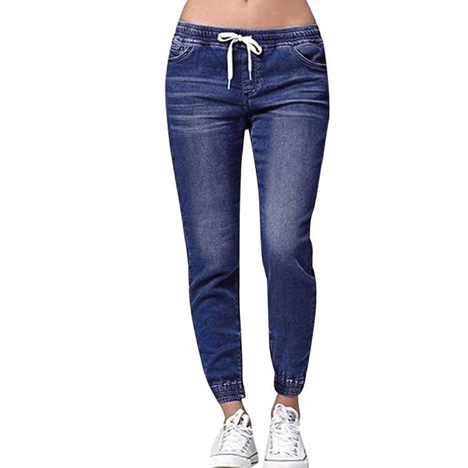 Luckycat Damen Herbst Elastic Plus lose Denim beiläufiger Drawstring Plus geerntete Jeans Boyfriend Jeans Mode 2018