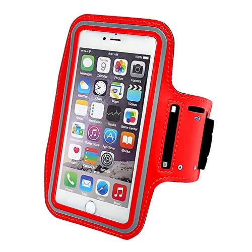 Running Armband Compatible with iPhone X,XS,XS MAX,8 Plus/8/7 Plus/6 Plus 6,Galaxy S8/S8 Plus/S7 Edge,Note 8 5,Google Pixel with Key Holder Phone Armband Compatible with Hiking Biking Walking-Red