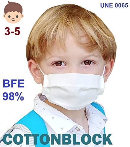 51jBmSWsApL ✅ Mascarilla higiénica reutilizable de alta protección homologada UNE 0065:2020 (Norma Ministerio Sanidad España) mediante ensayo EN14683:2019 ⭐ Tela 100% algodón tratado con tecnología Cottonblock (propiedades hidrófugas y de bloqueo): repele las microgotas de saliva dentro y fuera; facilita la respiración. ⭐ Test de laboratorio de protección BFE 98,2% ⭐ Protección bidireccional, proteje al que la lleva y a los demás (no excluye de cumplir las normas de distanciamiento social). ✅ Cuida la piel de tu cara con nuestra tela 100% algodón sin elementos tóxicos ni fibras artificiales que provoquen rojeces, alergias, eccemas o irritaciones, incluso llevándola todo el día. ⭐ 100% libre de fluorcarbono, ftalatos y teflones. ⭐ Certificado OekoTex 100 Class 1 (sin sustancias nocivas). ⭐ Alta transpiración, ideal para el verano, ejercicio ligero y/o personas que hablan a menudo con mascarilla. ⭐ Sin elementos rígidos para no dejar marcas en nariz o cara y tener máxima comodidad. ✅ Fabricada en España (tejido y confección) y testada en el laboratorio español Eurecat (ensayo 2020-017772) ⭐ Sin tener que añadir filtros desechables, sólo hay que lavarla para reutilizarla. ⭐ Muy ligera y cómoda, con gomas especiales para que no duelan las orejas y diseñada de forma ergonómica en acordeón para poder hablar con la mascarilla puesta sin que se descoloque. ⭐ Muy cómoda para respirar gracias a una presión diferencial de sólo 15Pa/cm2 (respirabilidad probada en laboratorio).