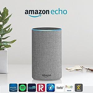 Amazon Echo (2. Generation), Intelligenter Lautsprecher mit Alexa, Hellgrau Stoff