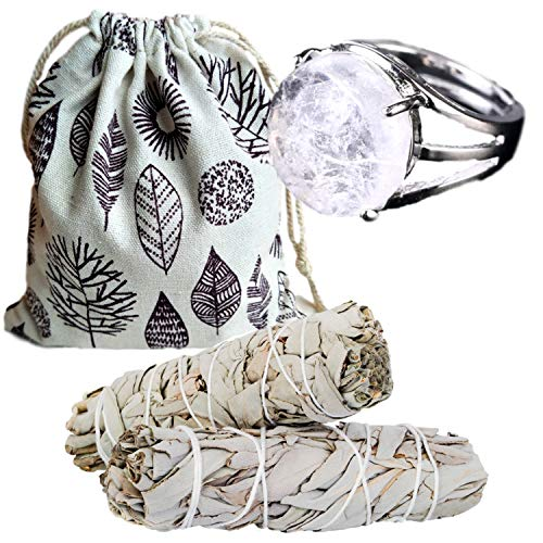 Worldly Finds Sage Smudge Sticks Smudging Kit Healing Stones,White Quartz Crystal, Quartz Rings for Women, Quartz Ring, Metaphysical Gifts (White Quartz Ring Set)
