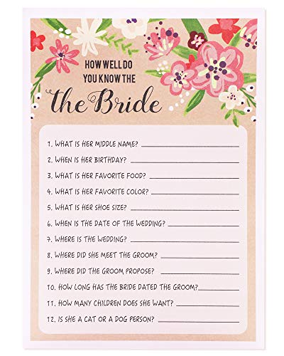 Best Paper Greetings Floral Bridal Wedding Shower Games for Guests - 50 Sheets - How Well Do You Know the Bride - 5 x 7 Rustic Vintage Card Designs (Bridal Trivia Shower)