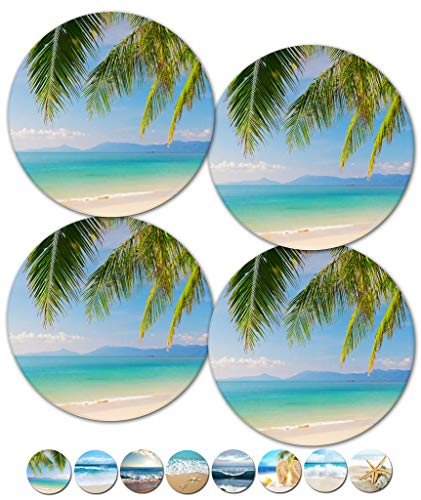 - Coasters, Beach Coasters, Stone Coasters, Ceramic, Coasters Set, Modern Coasters, Outdoor Coasters for Drinks, Table Coasters, Cup Mat, Set of 4 No Holder (Palm Trees 02100)