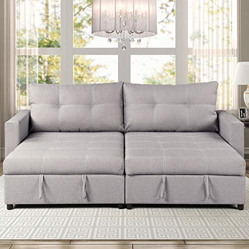 Double Arm Chaise Lounge - Christies Home Living Robin Polyester Storage Compartments Sofa Chaise with 2, Gray