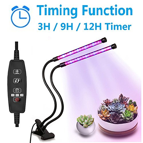 Grow Lights 20W Dual Head Timing Plant Growing Lamps with 40 LED,Red/Blue Spectrum,Adjustable Gooseneck,3/6/12H Timer,9 Dimmable Levels,3 Switch Modes for Indoor Plants by YOQXHY