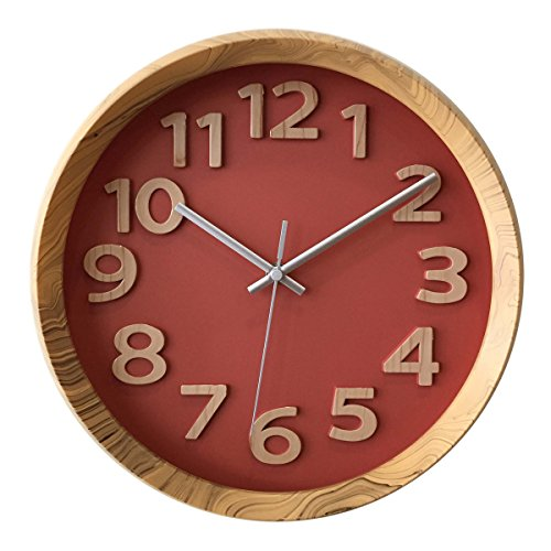 Non Ticking Silent Thick Frame Wall Clock - Trendy red wall clocks