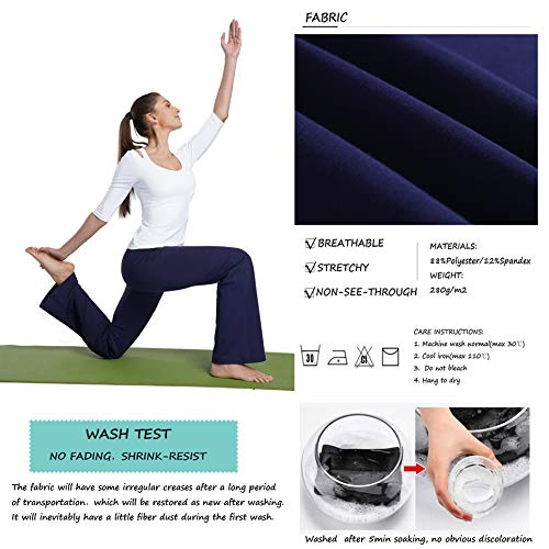 4ee1aa9646512 Bamans Womens Comfort Fit Bootcut Yoga Pants Tummy Control Workout Non  See-Through Wide Leg