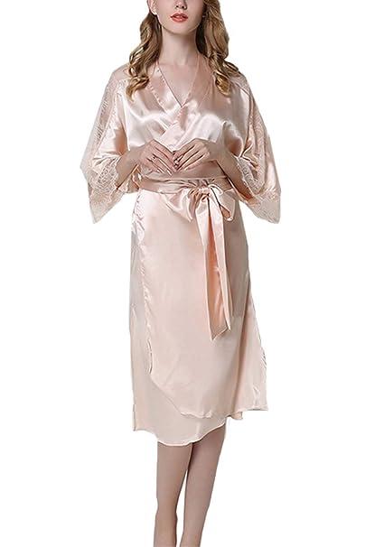 8c08e89657 asher BABY Womens Sexy Sheer Bridal Sleepwear Lace Lingerie Long Kimono  Robes