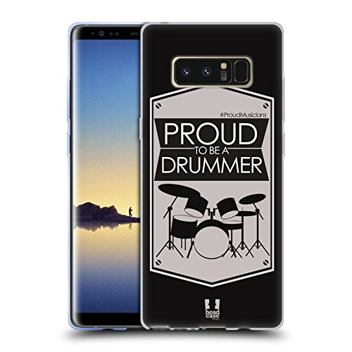Head Case Designs Drummer Proud Musicians Soft Gel Case for Samsung Galaxy Note8 / Note 8 (Note Drum)