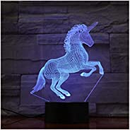 Night Lights Lamps Unicorn Horse 7 Colors 3D Led Lamp Lights Creative Gift USB Touch 3D Table Lamp As Kid Room