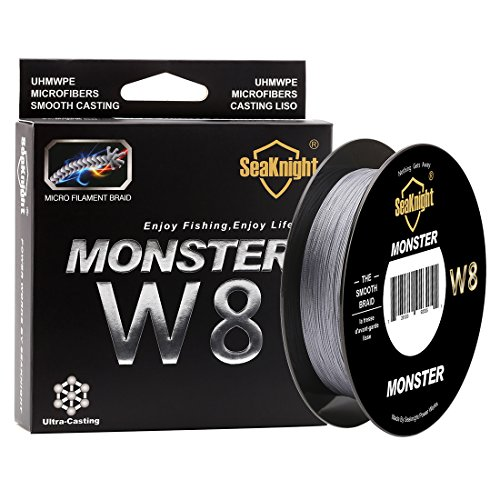 SeaKnight Monster W8 Braided Lines 8 Strands Weaves 500M/547Yards Super Smooth PE Braided Multifilament Fishing Lines for Sea Fishing Grey 40LB