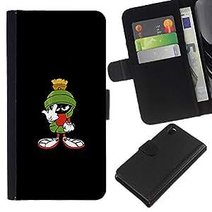 """JackGot ( Gracioso - marciana"""" ) Sony Xperia Z3 D6603 la tarjeta de Crédito Slots PU Funda de cuero Monedero caso cubierta de piel"""