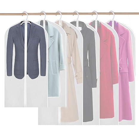 Kleidersack, 6 Stücke Kleidersäcke Mottensicher Transparent Anzugsack Kleiderhülle mit reißverschluss Schutzhülle für Anzüge
