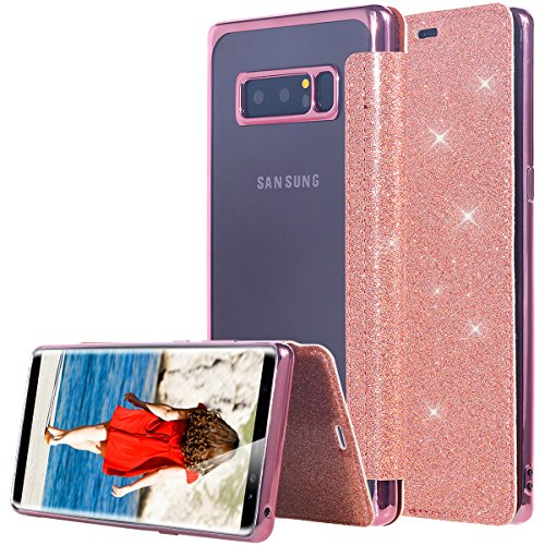 Lontect Galaxy Note 8 Case, Lontect Bling Slim PU Leather Folio Flip Case with Card Slot & Clear Soft TPU Back Cover for Samsung Galaxy Note 8 - Shiny Rose Gold