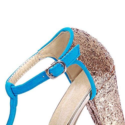 AgooLar Women's Buckle Peep Toe High Heels Frosted Solid Sandals Blue OIehO6U