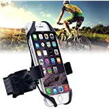 "Universal Bike Phone Mount, Adjustable Cell Phone Bicycle Rack Handlebar & Motorcycle Holder Cradle Compatible with iPhone Android GPS Other Devices, Holds Phones Up to 3.5"" Wide"