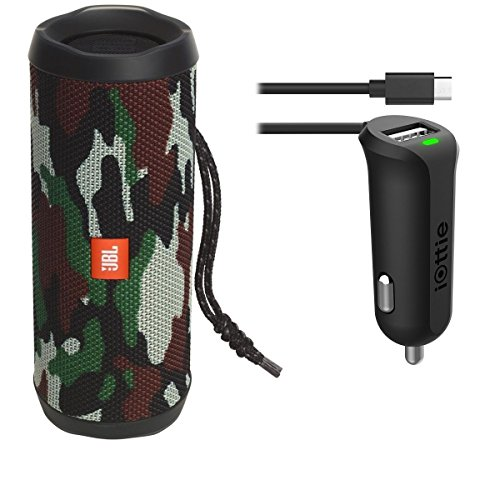 JBL Flip 4 Waterproof Portable Bluetooth Speaker (Camouflage) & Car Charger Bundle