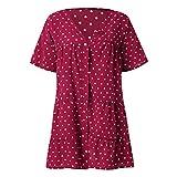 Topassion V-collar Printed Dot Sundress Mini Dress Short Sleeve Vintage Knee Length Pencil Dress Oversized Dress Summer Casual Chiffon Button Tie Waist Polka Dot Solid Color Beach Mini Shirt Dress