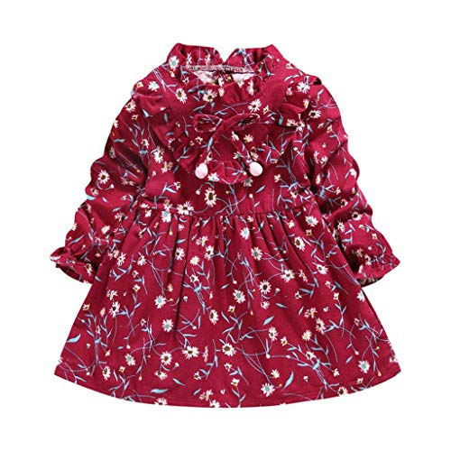 Mayunn Toddler Baby Girls Cotton Ruched Doll Collar Floral Bow Dress Outfits Set Clothes (12Months-4Years)