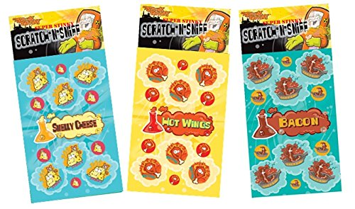 Just For Laughs Dr. Stinky's Scratch N Sniff Stickers 3-Pack- Bacon, Hot Wings, Smelly Cheese 81 Stickers
