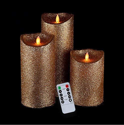 Glitter Pillar - Luminara Flameless Candles,Gold Flameless Candles,Flameless Candles Flickering,Flameless Pillar Candles,4