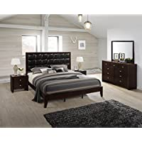 Gloria Brown Cherry Finish Wood Bed Room Set, King Bed, Dresser, Mirror, 2 Night Stands