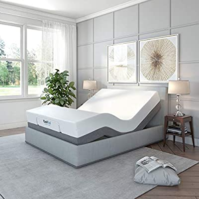 Classic Brands Adjustable Comfort Upholstered Adjustable Bed Base with Massage, Wireless Remote, Three Leg Heights, and USB Ports-Ergonomic