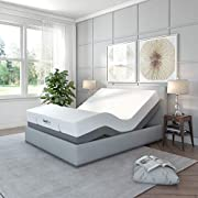 Classic Brands Adjustable Comfort Upholstered Adjustable Bed Base with Massage, Wireless Remote, Three Leg Heights, and USB Ports-Ergonomic King (Split)