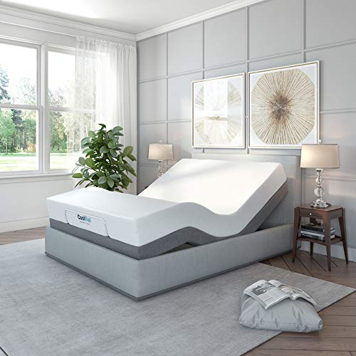 Classic Brands Adjustable Comfort Upholstered Adjustable Bed Base with Massage, Wireless Remote, Three Leg Heights, and USB Ports-Ergonomic - Head Queen