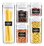 George Olivier Stackable Food Storage Containers with Airtight Lids, Set of 5 + 8 Chalkboard Labels & Marker - BPA Free & Food Grade Plastic - Spaghetti & Cereal Dispenser