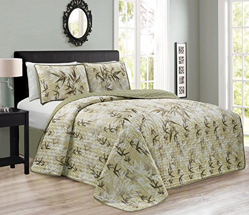 KAMA by Chezmoi Collection 3PC Luxury Embroidery Bamboo Forest Reversible Quilted Bedspread Set (Queen) - Bamboo Queen Quilted Coverlet